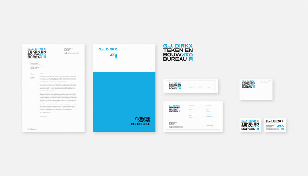 Huisstijl met logo, briefpapier, visitekaartje, etiketten & iconen voor G.J. Dirkx Teken- & bouwbureau
