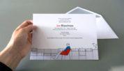Rouwdrukwerk met illustratie op kaart & uitnodiging