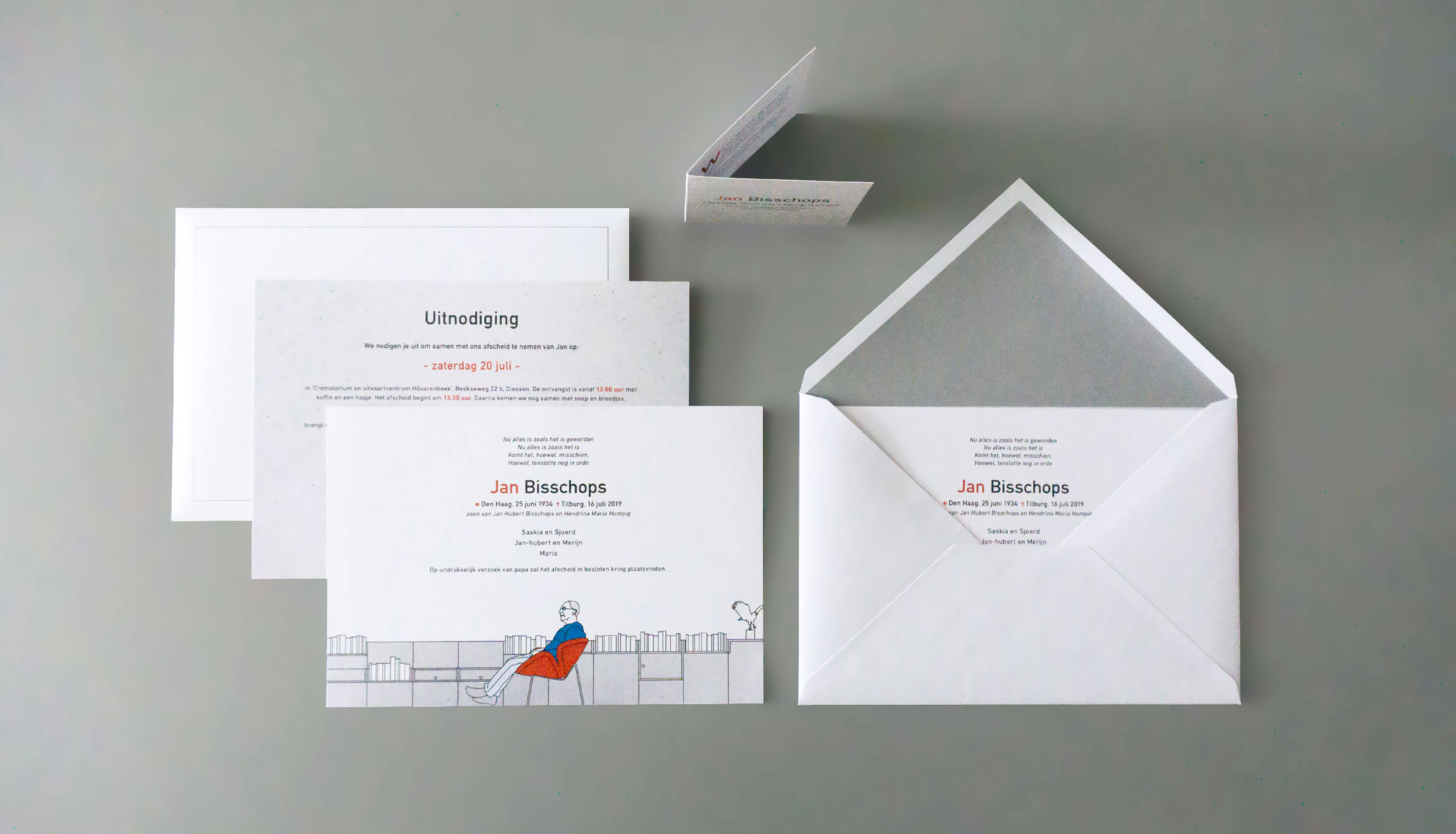 Rouwdrukwerk met illustratie op uitnodiging